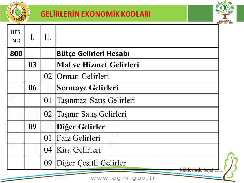 I. II. GELİRLERİN EKONOMİK KODLARI 800 Bütçe Gelirleri Hesabı 03