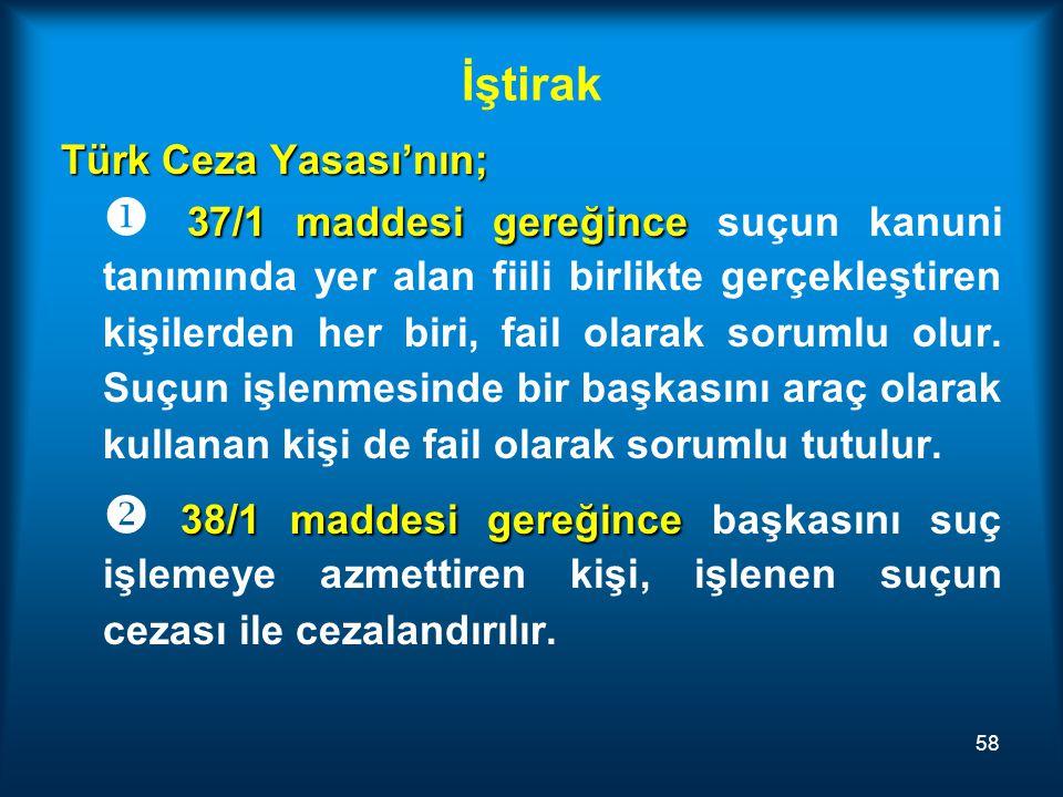 İştirak Türk Ceza Yasası'nın;