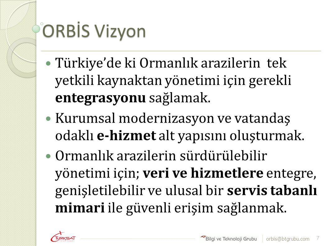 ORBİS Vizyon Türkiye'de ki Ormanlık arazilerin tek yetkili kaynaktan yönetimi için gerekli entegrasyonu sağlamak.