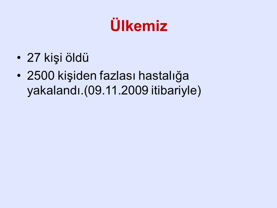 Ülkemiz 27 kişi öldü 2500 kişiden fazlası hastalığa yakalandı.(09.11.2009 itibariyle)
