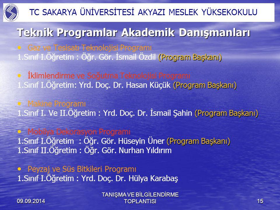 Teknik Programlar Akademik Danışmanları