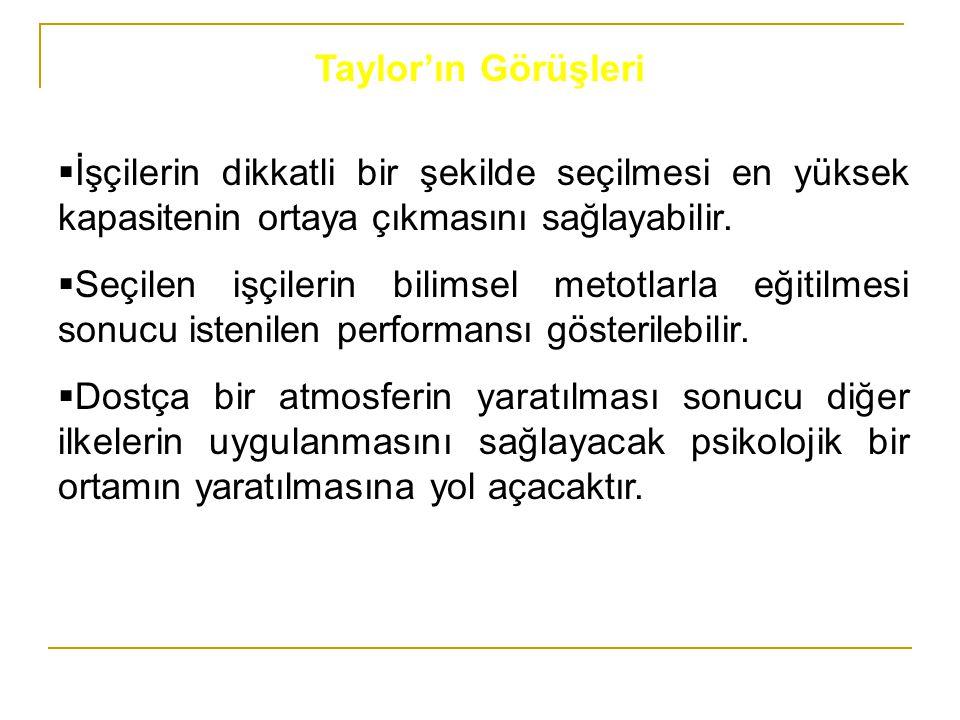 Taylor'ın Görüşleri İşçilerin dikkatli bir şekilde seçilmesi en yüksek kapasitenin ortaya çıkmasını sağlayabilir.