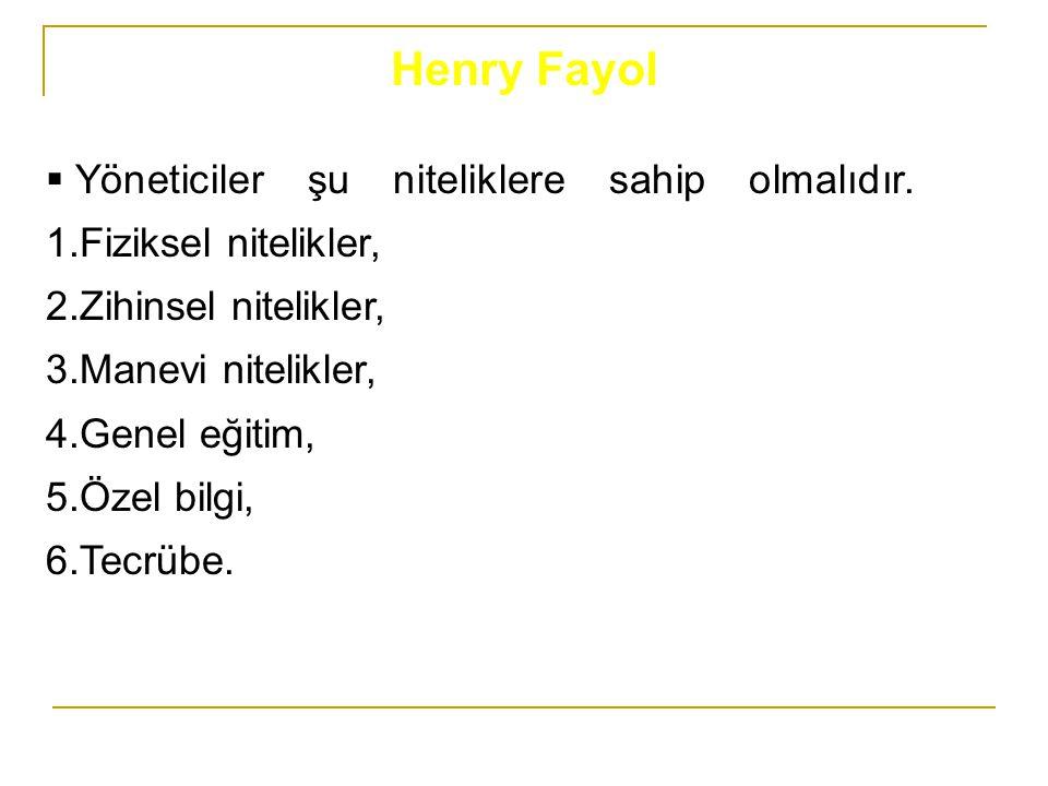 Henry Fayol Yöneticiler şu niteliklere sahip olmalıdır. 1.Fiziksel nitelikler, 2.Zihinsel nitelikler,