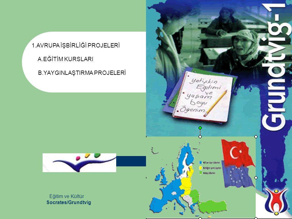 Eğitim ve Kültür 1.AVRUPA İŞBİRLİĞİ PROJELERİ A.EĞİTİM KURSLARI