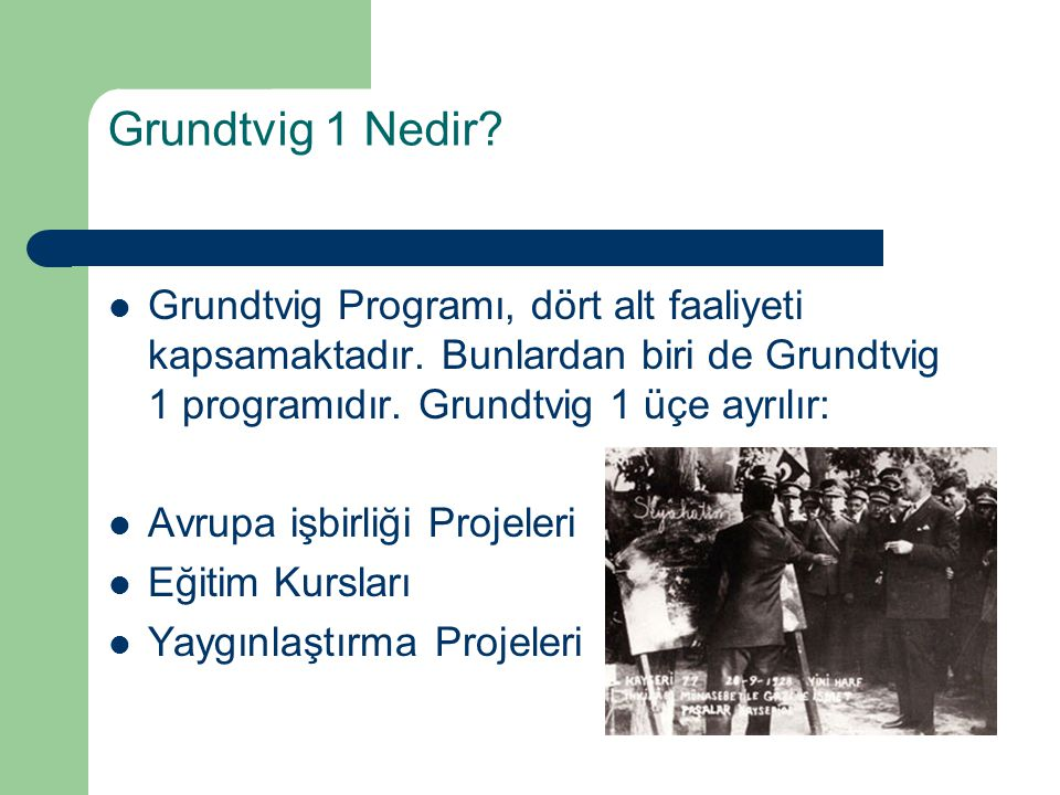 Grundtvig 1 Nedir Grundtvig Programı, dört alt faaliyeti kapsamaktadır. Bunlardan biri de Grundtvig 1 programıdır. Grundtvig 1 üçe ayrılır: