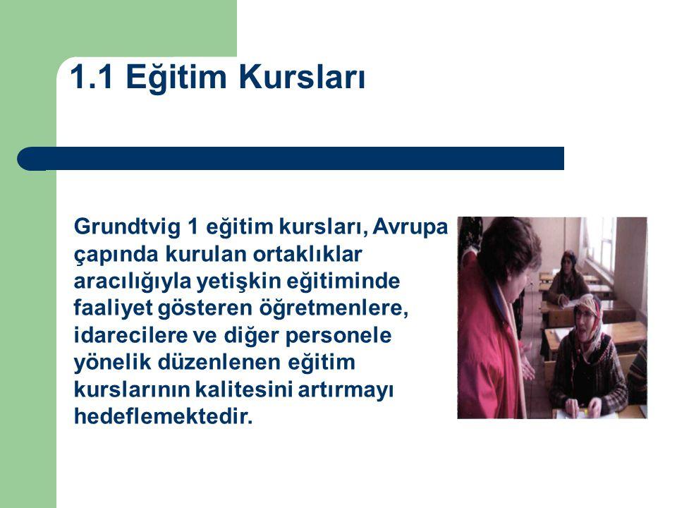 1.1 Eğitim Kursları Grundtvig 1 eğitim kursları, Avrupa çapında kurulan ortaklıklar aracılığıyla yetişkin eğitiminde faaliyet gösteren öğretmenlere,
