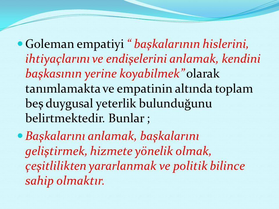 Goleman empatiyi başkalarının hislerini, ihtiyaçlarını ve endişelerini anlamak, kendini başkasının yerine koyabilmek olarak tanımlamakta ve empatinin altında toplam beş duygusal yeterlik bulunduğunu belirtmektedir. Bunlar ;
