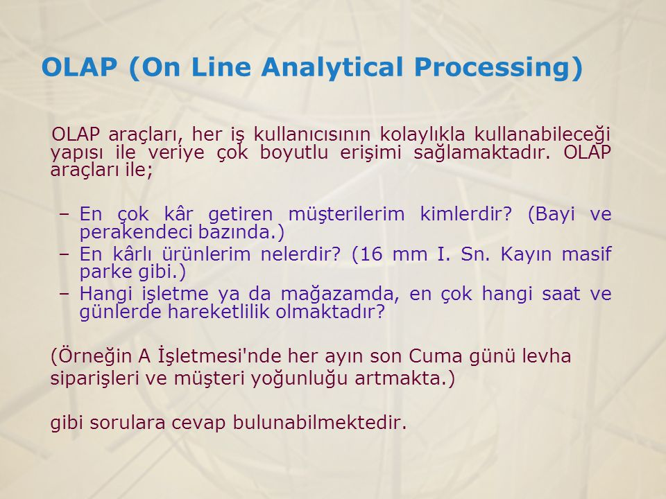 OLAP (On Line Analytical Processing)