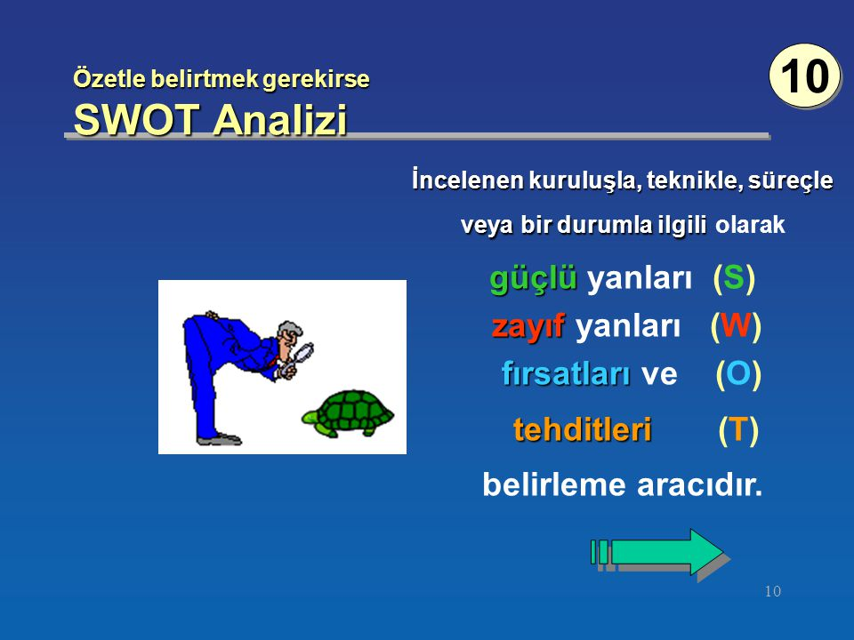 Özetle belirtmek gerekirse SWOT Analizi