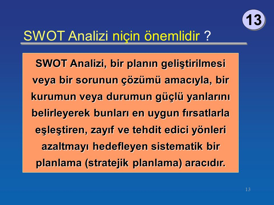 SWOT Analizi niçin önemlidir