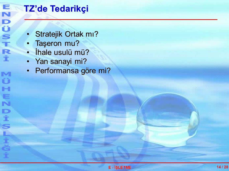 TZ'de Tedarikçi Stratejik Ortak mı Taşeron mu İhale usulü mü