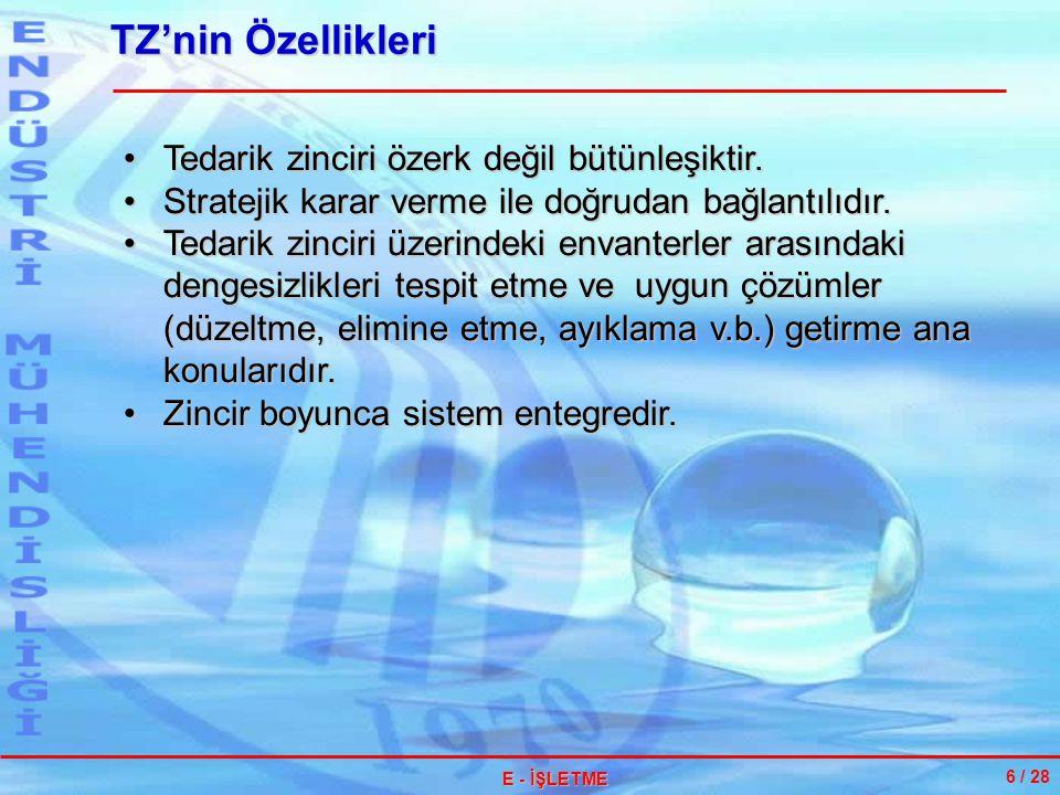 TZ'nin Özellikleri Tedarik zinciri özerk değil bütünleşiktir.