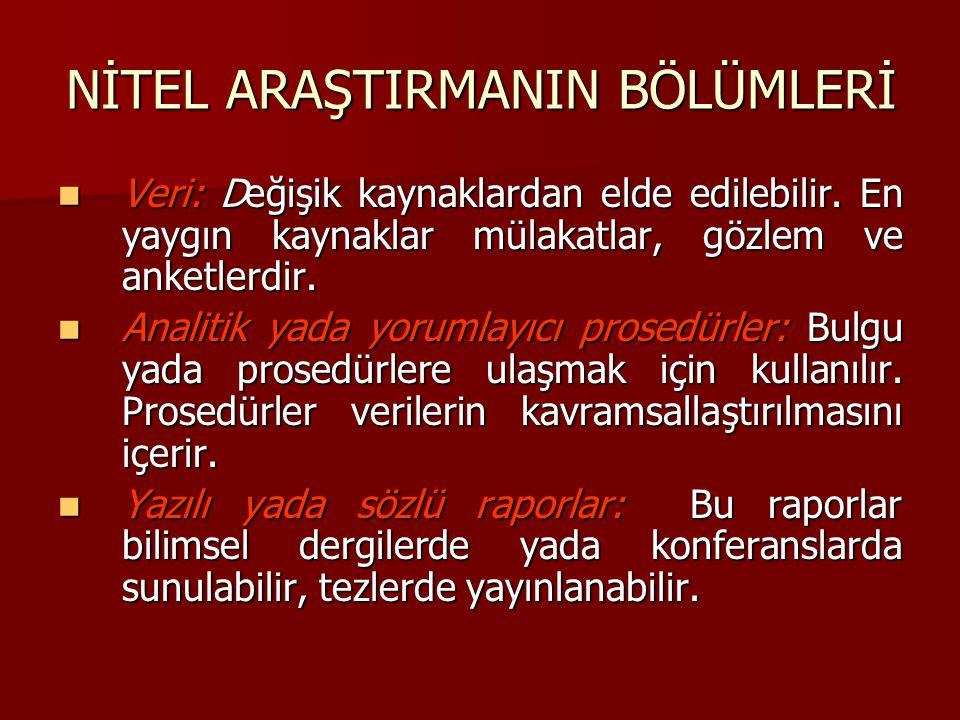 NİTEL ARAŞTIRMANIN BÖLÜMLERİ