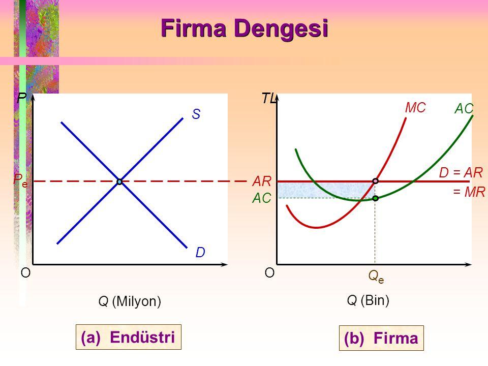 Firma Dengesi (a) Endüstri (b) Firma P TL AC MC O Q (Bin) S D AR