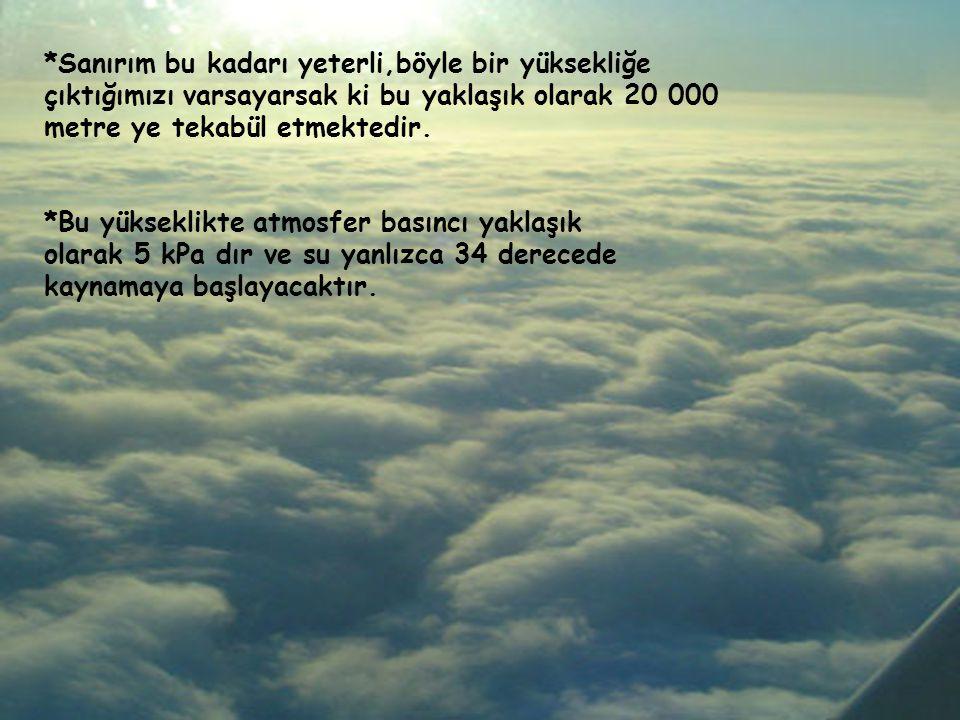 *Sanırım bu kadarı yeterli,böyle bir yüksekliğe çıktığımızı varsayarsak ki bu yaklaşık olarak 20 000 metre ye tekabül etmektedir.