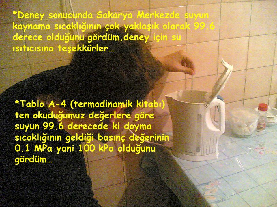 *Deney sonucunda Sakarya Merkezde suyun kaynama sıcaklığının çok yaklaşık olarak 99.6 derece olduğunu gördüm,deney için su ısıtıcısına teşekkürler…