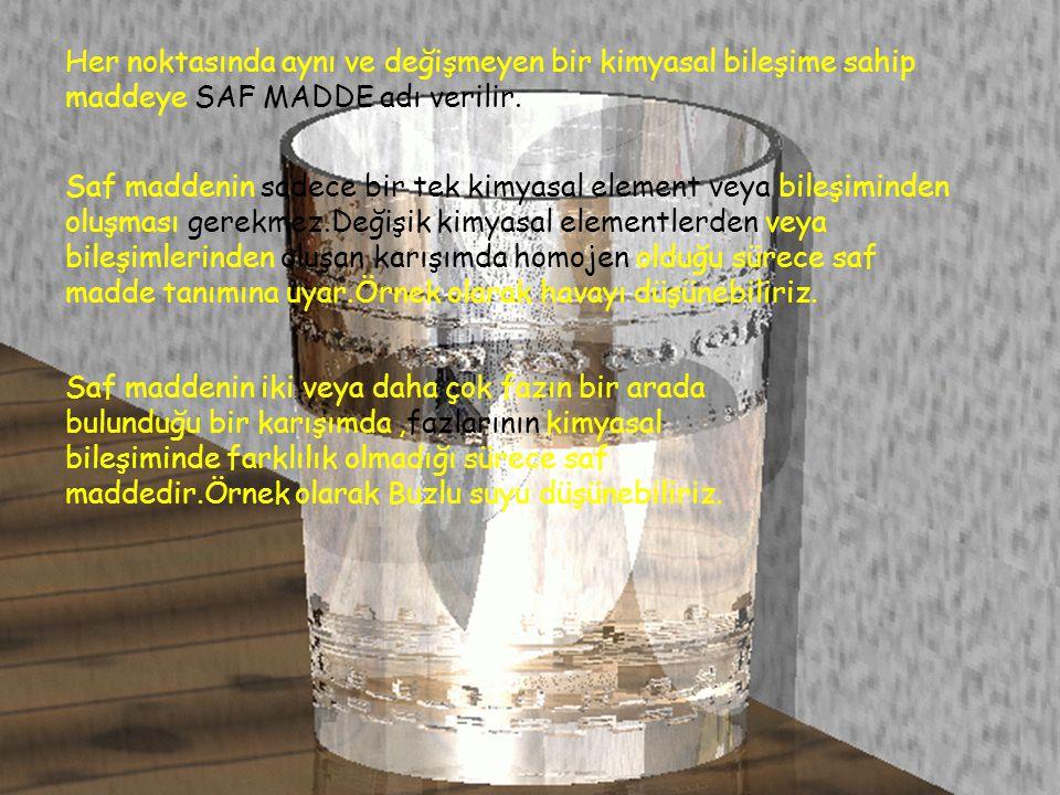 Her noktasında aynı ve değişmeyen bir kimyasal bileşime sahip maddeye SAF MADDE adı verilir.