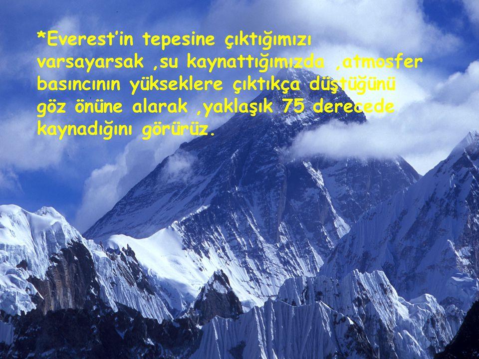 *Everest'in tepesine çıktığımızı varsayarsak ,su kaynattığımızda ,atmosfer basıncının yükseklere çıktıkça düştüğünü göz önüne alarak ,yaklaşık 75 derecede kaynadığını görürüz.