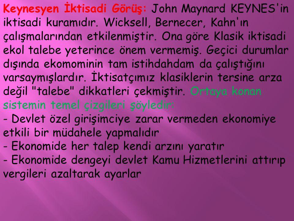 Keynesyen İktisadi Görüş: John Maynard KEYNES in iktisadi kuramıdır
