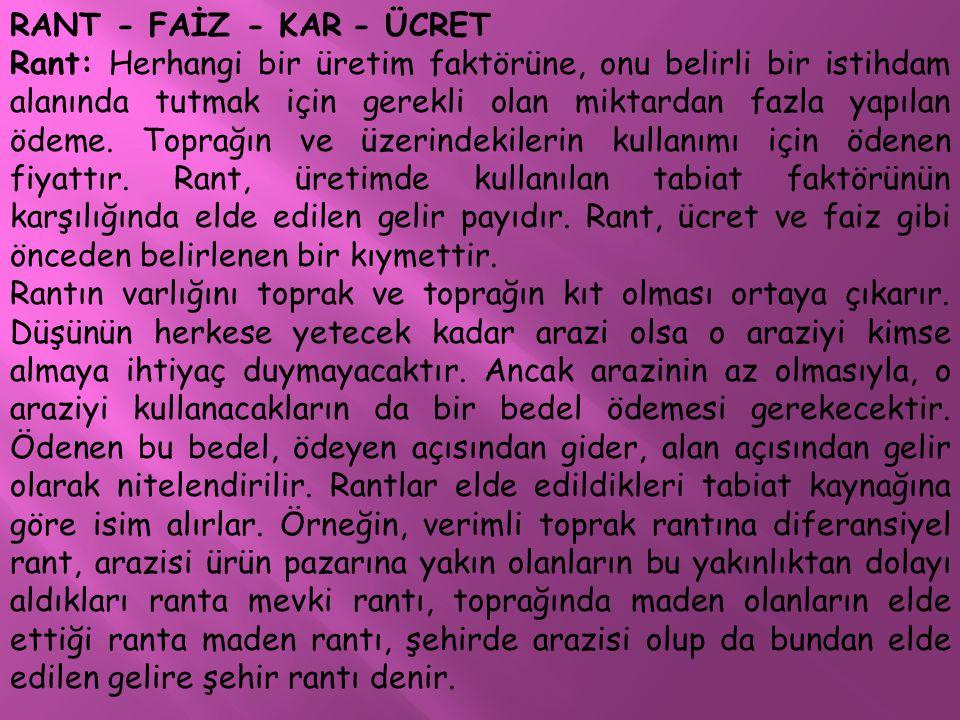 RANT - FAİZ - KAR - ÜCRET