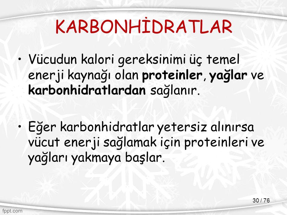 KARBONHİDRATLAR Vücudun kalori gereksinimi üç temel enerji kaynağı olan proteinler, yağlar ve karbonhidratlardan sağlanır.