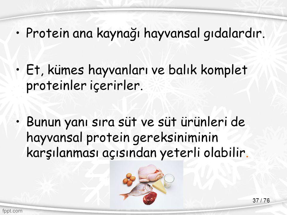 Protein ana kaynağı hayvansal gıdalardır.