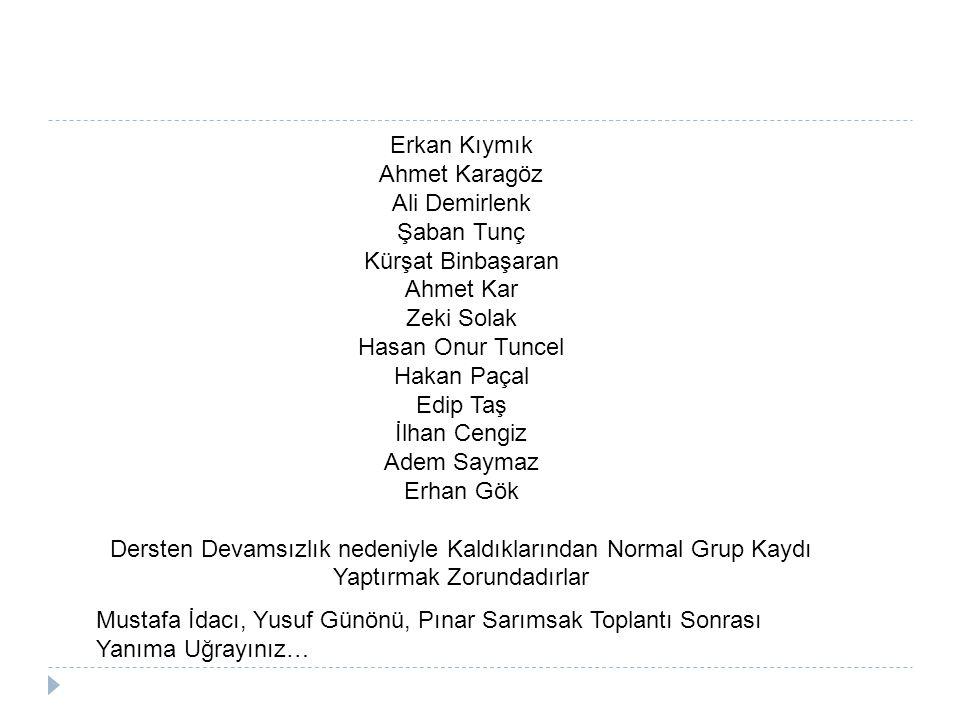 Erkan Kıymık Ahmet Karagöz. Ali Demirlenk. Şaban Tunç. Kürşat Binbaşaran. Ahmet Kar. Zeki Solak.