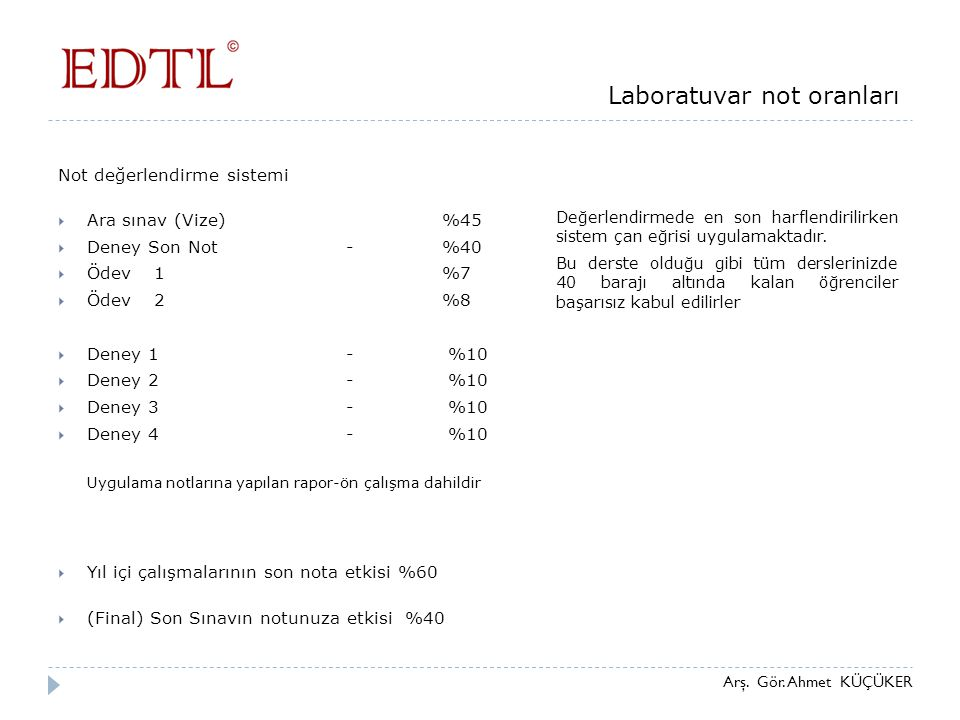 Laboratuvar not oranları