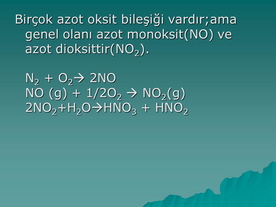 Birçok azot oksit bileşiği vardır;ama genel olanı azot monoksit(NO) ve azot dioksittir(NO2).