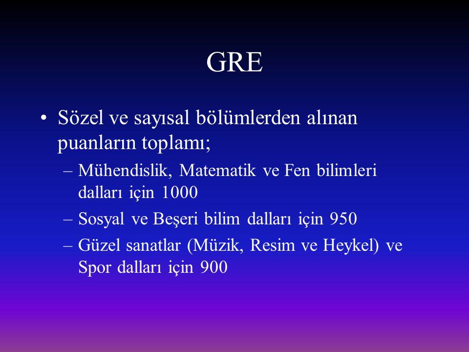 GRE Sözel ve sayısal bölümlerden alınan puanların toplamı;