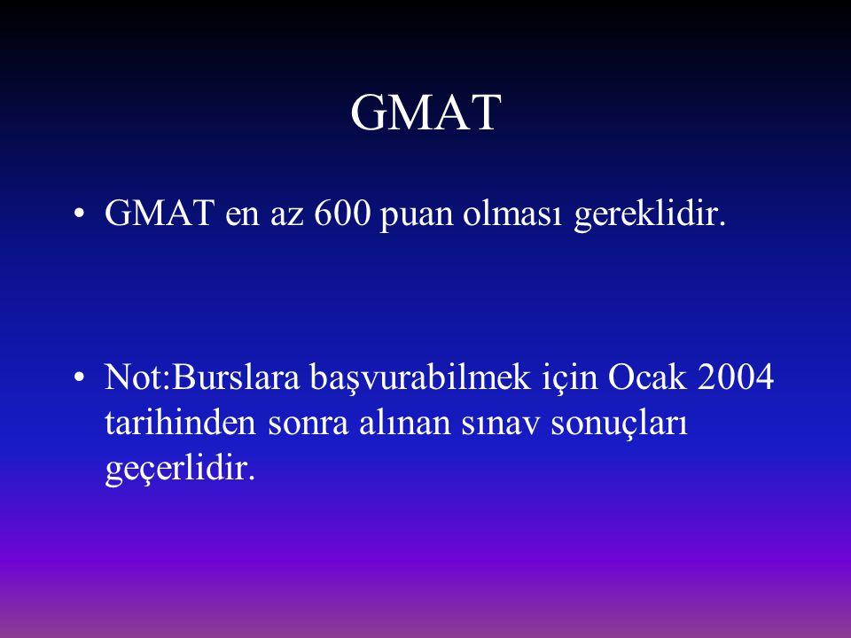GMAT GMAT en az 600 puan olması gereklidir.