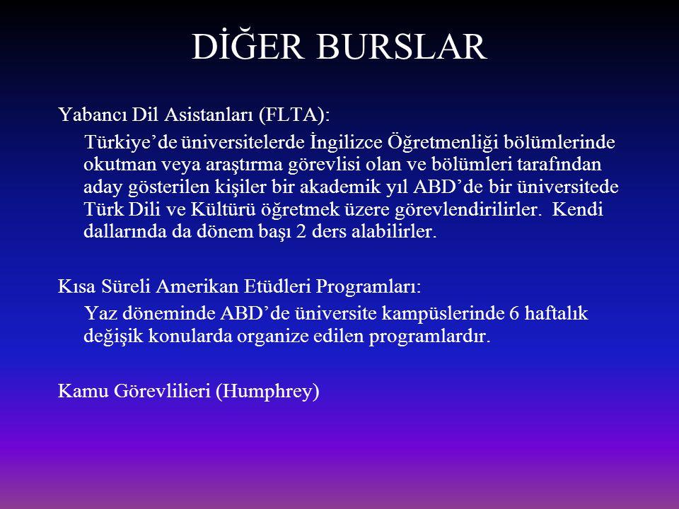 DİĞER BURSLAR Yabancı Dil Asistanları (FLTA):