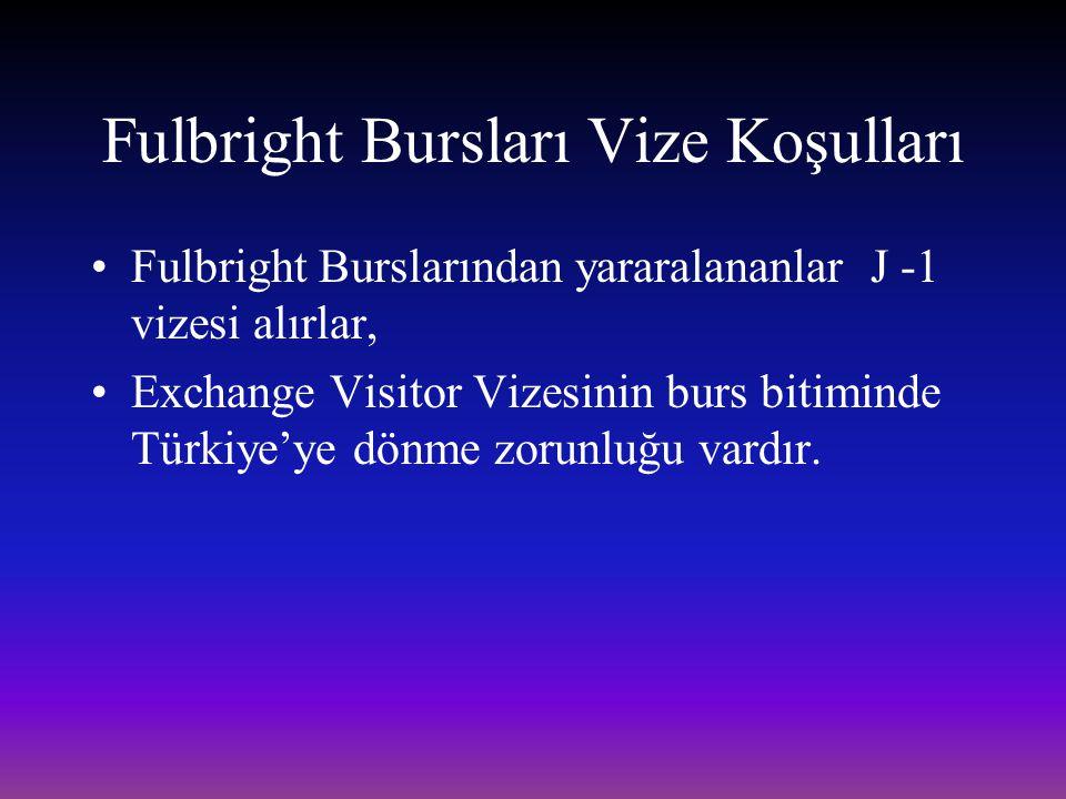 Fulbright Bursları Vize Koşulları