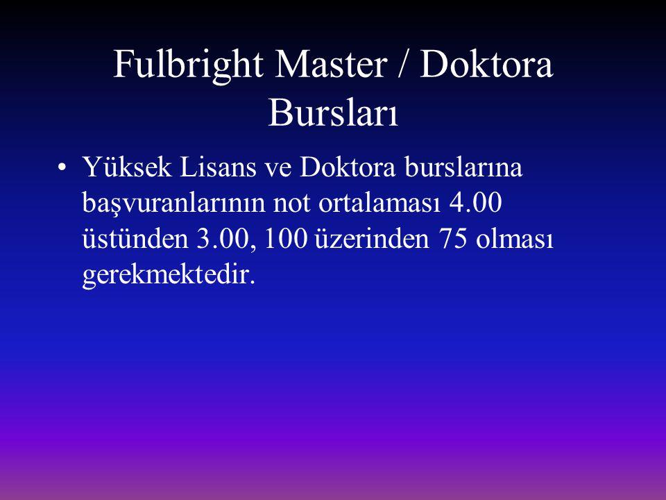 Fulbright Master / Doktora Bursları