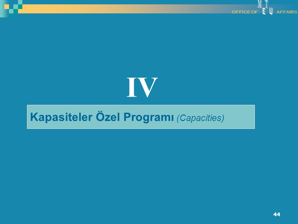 M E T U OFFICE OF AFFAIRS IV Kapasiteler Özel Programı (Capacities)