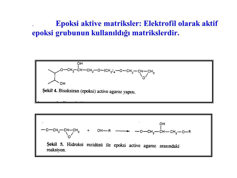 . Epoksi aktive matriksler: Elektrofil olarak aktif epoksi grubunun kullanıldığı matrikslerdir.