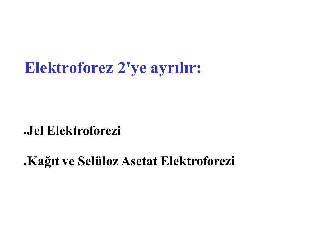 Elektroforez 2 ye ayrılır: