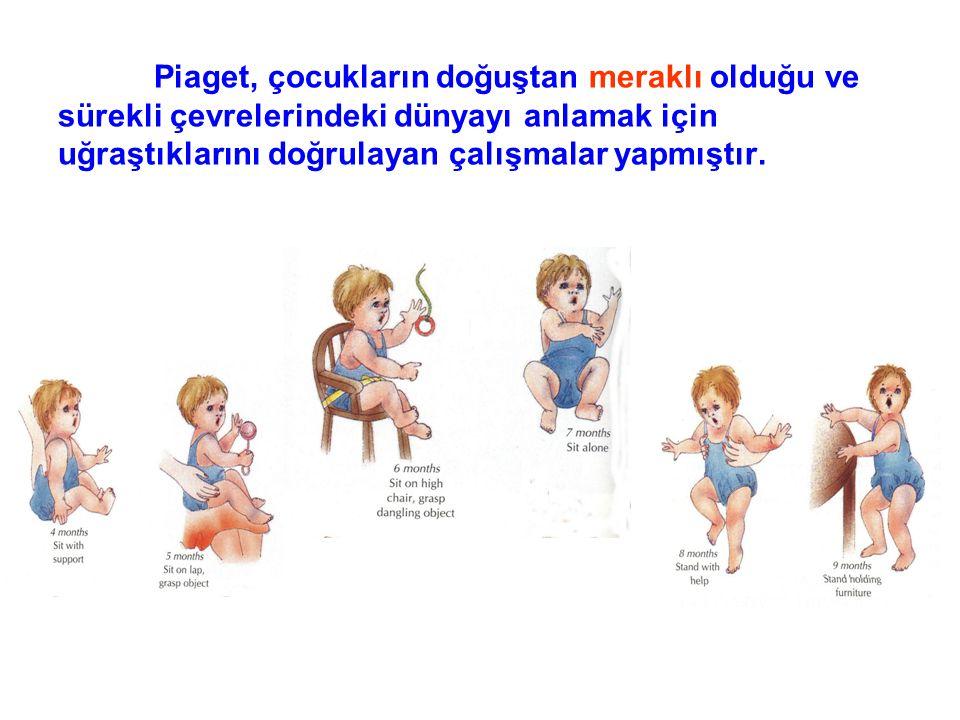 Piaget, çocukların doğuştan meraklı olduğu ve sürekli çevrelerindeki dünyayı anlamak için uğraştıklarını doğrulayan çalışmalar yapmıştır.