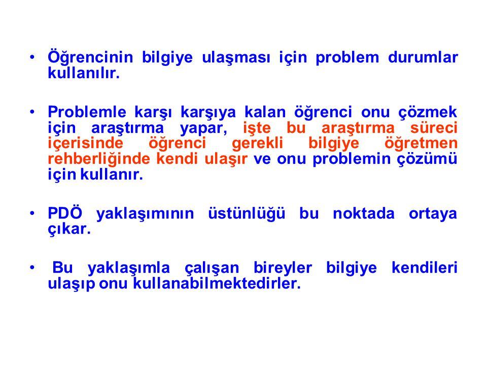 Öğrencinin bilgiye ulaşması için problem durumlar kullanılır.