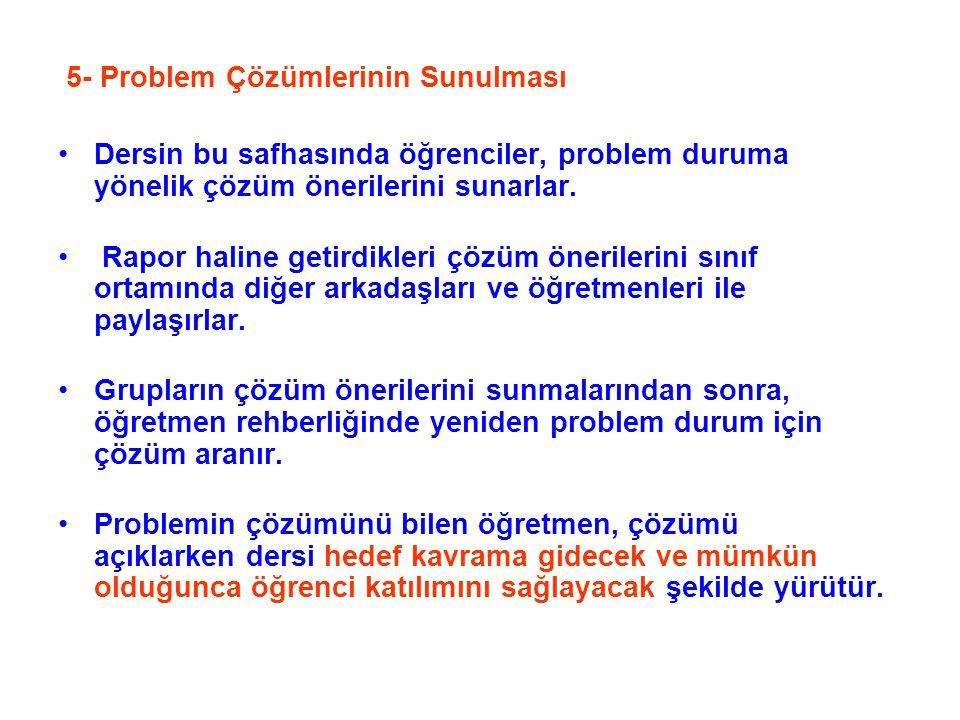 5- Problem Çözümlerinin Sunulması