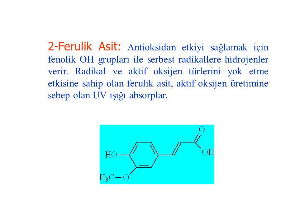 2-Ferulik Asit: Antioksidan etkiyi sağlamak için fenolik OH grupları ile serbest radikallere hidrojenler verir.