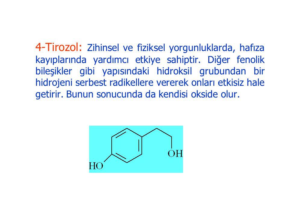 4-Tirozol: Zihinsel ve fiziksel yorgunluklarda, hafıza kayıplarında yardımcı etkiye sahiptir.