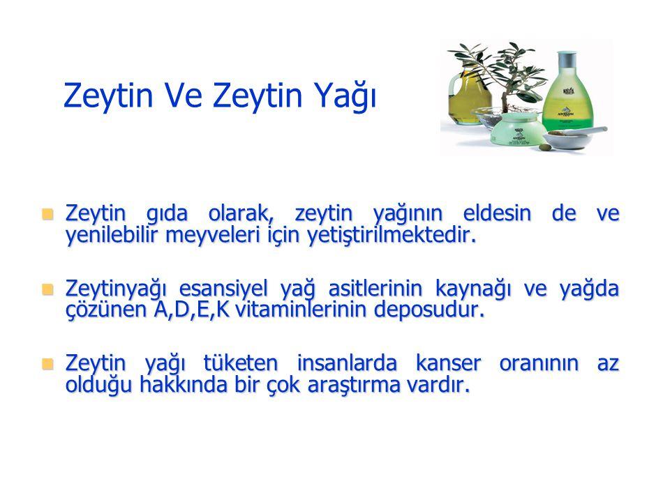 Zeytin Ve Zeytin Yağı Zeytin gıda olarak, zeytin yağının eldesin de ve yenilebilir meyveleri için yetiştirilmektedir.