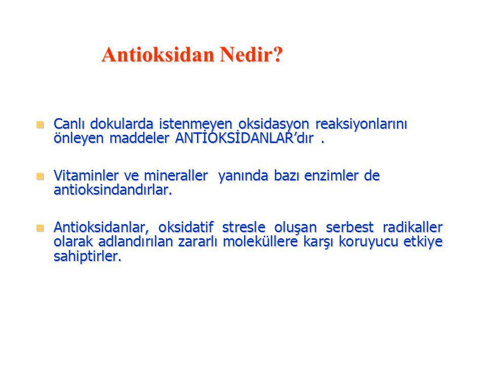 Antioksidan Nedir Canlı dokularda istenmeyen oksidasyon reaksiyonlarını önleyen maddeler ANTİOKSİDANLAR'dır .