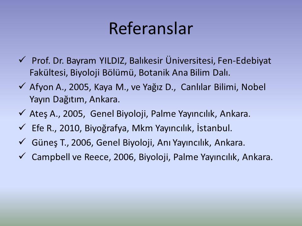 Referanslar Prof. Dr. Bayram YILDIZ, Balıkesir Üniversitesi, Fen-Edebiyat Fakültesi, Biyoloji Bölümü, Botanik Ana Bilim Dalı.