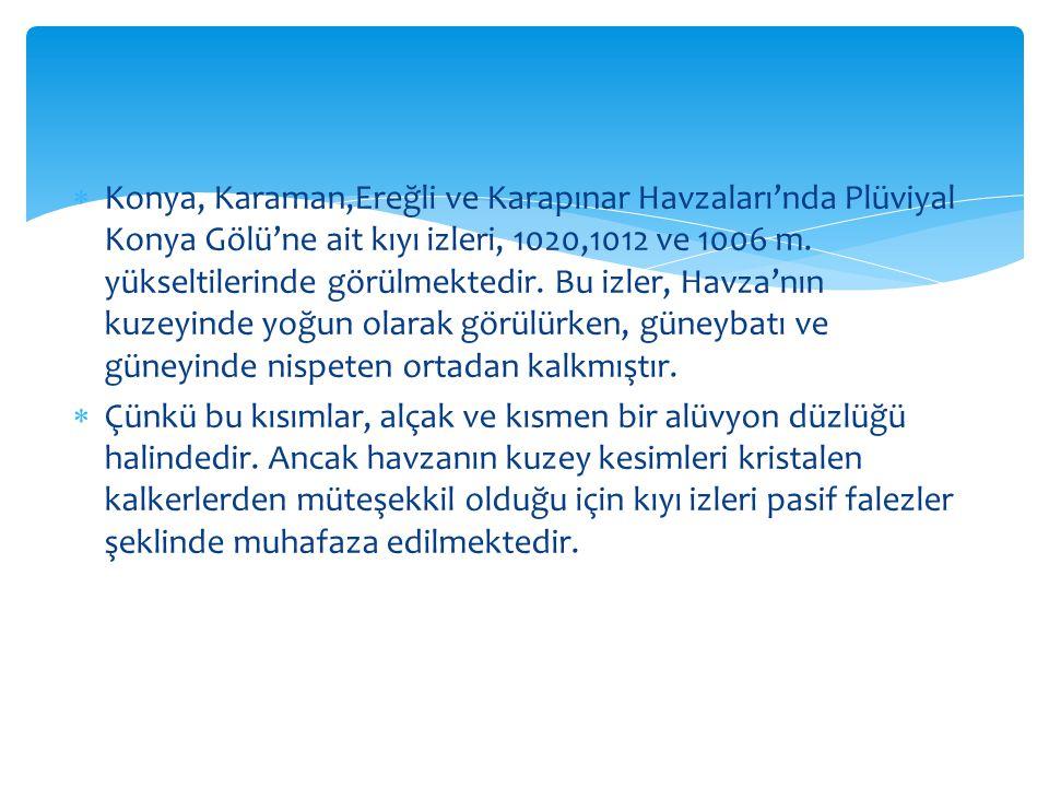 Konya, Karaman,Ereğli ve Karapınar Havzaları'nda Plüviyal Konya Gölü'ne ait kıyı izleri, 1020,1012 ve 1006 m. yükseltilerinde görülmektedir. Bu izler, Havza'nın kuzeyinde yoğun olarak görülürken, güneybatı ve güneyinde nispeten ortadan kalkmıştır.