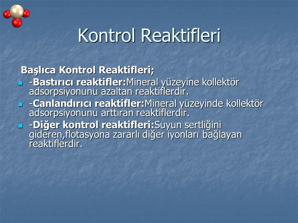 Kontrol Reaktifleri Başlıca Kontrol Reaktifleri;