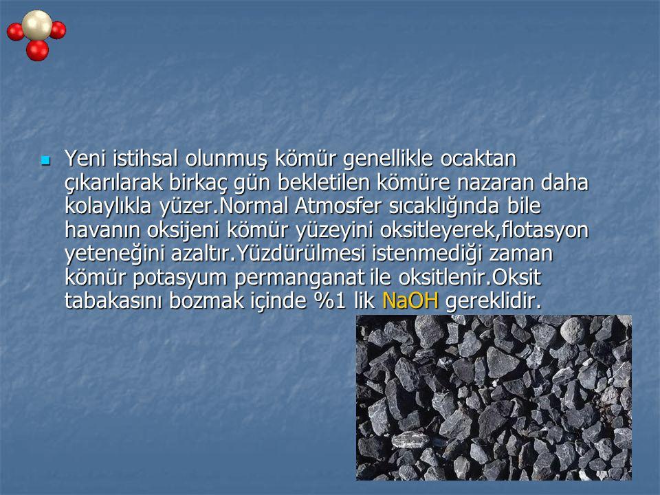 Yeni istihsal olunmuş kömür genellikle ocaktan çıkarılarak birkaç gün bekletilen kömüre nazaran daha kolaylıkla yüzer.Normal Atmosfer sıcaklığında bile havanın oksijeni kömür yüzeyini oksitleyerek,flotasyon yeteneğini azaltır.Yüzdürülmesi istenmediği zaman kömür potasyum permanganat ile oksitlenir.Oksit tabakasını bozmak içinde %1 lik NaOH gereklidir.