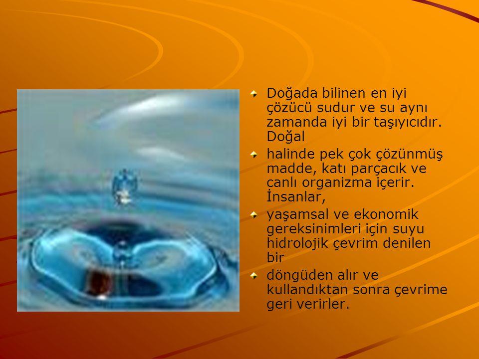 Doğada bilinen en iyi çözücü sudur ve su aynı zamanda iyi bir taşıyıcıdır. Doğal