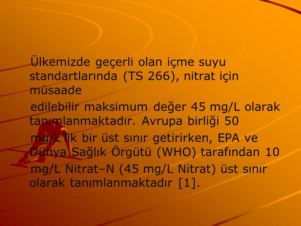 Ülkemizde geçerli olan içme suyu standartlarında (TS 266), nitrat için müsaade